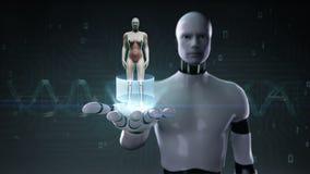 Robot, palma abierta del cyborg, ser humano femenino giratorio, sistema cardiovascular de exploración, estructura esquelética, si stock de ilustración