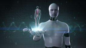 Robot, palma abierta del cyborg, sistema cardiovascular humano femenino giratorio, sistema de la sangre, luz azul de la radiograf ilustración del vector