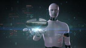 Robot, palma abierta del cyborg, vidrios de VR con el interfaz digital UI realidad aumentada, alfa realityincluded vertual ilustración del vector