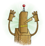 Robot Panic Cartoon Character Royalty Free Stock Photography