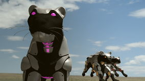 Robot panthers - 24 fps. A 3D animation of black artificial panthers running in the dessert. A lot of smoke and dust around the environment. This clip is vector illustration