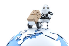 Robot with parcel. Global delivery service. Isolated with clipping path Royalty Free Stock Photography