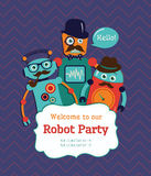 Robot Party Invitation Card Design Stock Photos