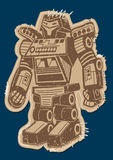 Robot patch with brown print on a navy background Royalty Free Stock Photography