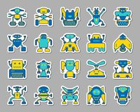 Free Robot Patch Sticker Icons Vector Set Stock Images - 116894634
