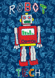 Robot pattern. Vector illustration of a robot Stock Image