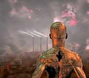Robot Peers slave au-dessus de ville Photographie stock libre de droits