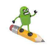 Robot on a pencil Stock Image