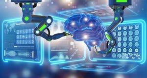 The robot performing surgery on head brain stock illustration