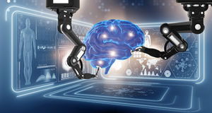 The robot performing surgery on head brain vector illustration
