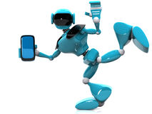 Robot and phone Royalty Free Stock Photos