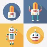 Robot pianamente in tondo ed icone quadrate con le ombre lunghe Insieme 15 Immagini Stock