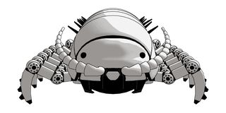Robot Pillbug Front View model with legs vector illustration