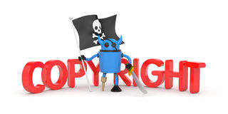 Robot pirate with flag Stock Photos