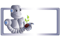 Robot with plant. Vector illustration with robot and plant Royalty Free Stock Photos