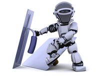 Robot with plastering tools [hawk and trowel] Royalty Free Stock Photos