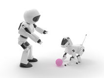 Robot play with dog Stock Photography