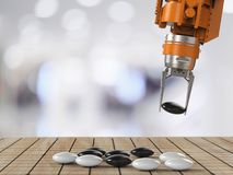 Robot play go. Machine learning concept with 3d rendering artificial Intelligence robot play go