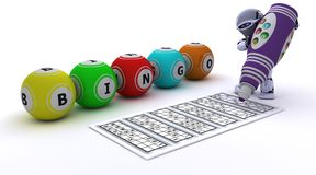 Robot playing bingo Stock Image