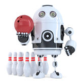 Robot playing bowling. . Contains clipping path Royalty Free Stock Photos