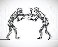 Robot playing boxing royalty free illustration