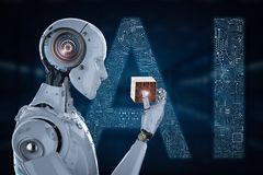 Robot playing cube. 3d rendering humanoid robot playing cube puzzle Royalty Free Stock Images