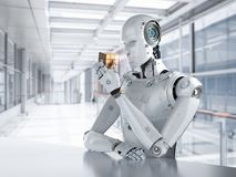 Robot playing cube. 3d rendering humanoid robot playing cube puzzle Stock Photos