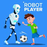Robot Playing Football With A Child Boy Vector. Isolated Illustration vector illustration