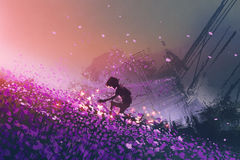 The robot playing with glowing butterflies. The robot sitting on purple field playing with glowing butterflies, digital art style, illustration painting Stock Images