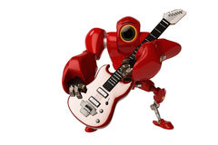 A robot playing a guitar Royalty Free Stock Images