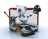 Robot playing ice hockey. 3D Render of a Robot playing ice hockey Royalty Free Stock Photos