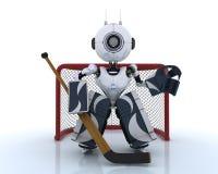 Robot playing ice hockey Royalty Free Stock Photo