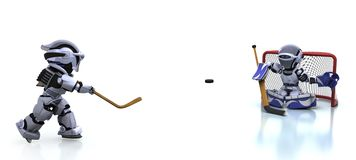 Robot playing icehockey Stock Images
