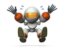 Robot is playing and jumping. Stock Image