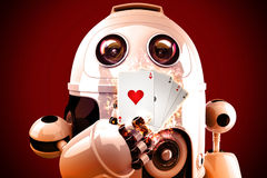 Robot playing poker. 3D illustration Royalty Free Stock Photo
