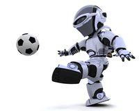 Robot playing soccer. 3D render of a robot playing soccer royalty free illustration