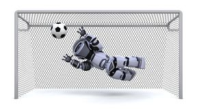 Robot  playing soccer Stock Images