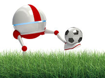 Robot playing soccer Royalty Free Stock Images