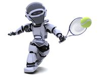 Robot playing tennis Royalty Free Stock Image