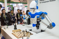 A Robot Plays Chess at CES 2017 Royalty Free Stock Photo