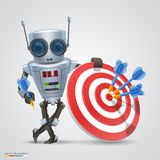 Robot plays darts. Vector Stock Image