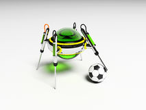 Robot plays football. 3D sport royalty free stock image