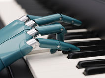 Robot Plays the Piano Artificial Intelligence Concept 3d Illustration. Close-up