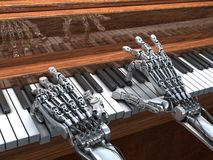 Robot plays the piano.  High Technology  illustration Royalty Free Stock Photo