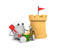 Robot plays in the sand with toys. 3d illustration Royalty Free Stock Photo
