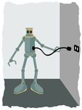 Robot plugging into wall socket Royalty Free Stock Photos