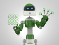 Robot that point on digital interface Stock Images