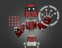 Robot that point on digital interface Royalty Free Stock Photos