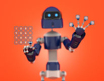 Robot that point on digital interface Royalty Free Stock Image