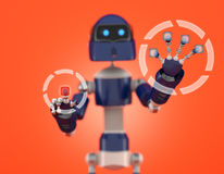 Robot that point on digital interface Royalty Free Stock Images